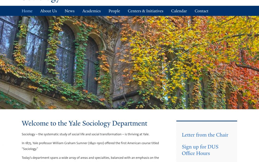 Yale University: Department of Sociology